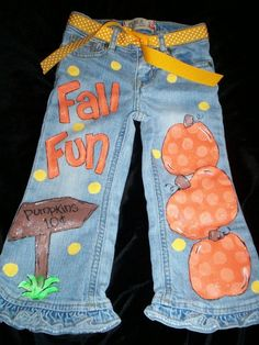Cute Fall pants - hand painted $45.00