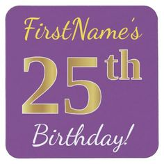 Purple Faux Gold 25th Birthday  Custom Name Square Paper Coaster - party gifts gift ideas diy customize