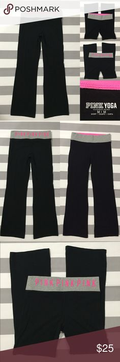 "[PINK] Victoria's Secret yoga pants szM [PINK] Victoria's Secret boot cut style yoga pants szM •🆕listing •good used condition •black with grey waist and pink screen print (no cracking) •elastic waistband with hidden slit pocket •length/inseam 29"" •material is 87% cotton and 13% elastane •slight overall lightening to material from washing, otherwise good condition •Offers are welcomed using the offer feature or bundle for the best discount🌟 PINK Victoria's Secret Pants"