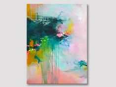 Original fine art, abstract painting, modern art, acrylic painting, pink dark green painting, bold colors, painting on stretched canvas