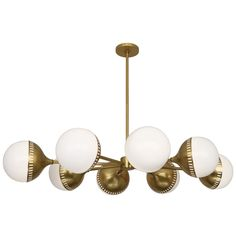 Contemporary Chandelier in Antique Brass Finish With Round Shape White Glass From The Jonathan Adler Rio Collection By Robert Abbey. Antique Brass Chandelier, Round Chandelier, Sputnik Chandelier, Modern Chandelier, Chandelier Lighting, Chandelier Ideas, Loft Lighting, Jonathan Adler, Luxury Lighting
