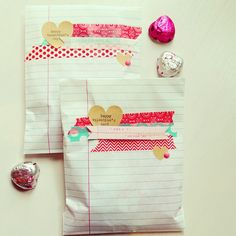 Washi Tape Valentines Valentines gift bags