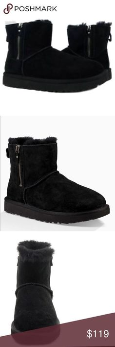 7a7b3a94ca8 coupon for ugg australia classic mini double zip black leather glass ...