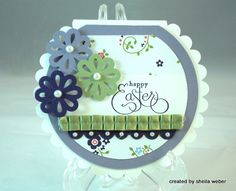 Interesting card shape.  Created by one of Mary Fish's Pretty Pals, Sheila Weber.