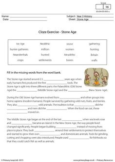 History: Reading comprehension - The Stone Age Spelling Worksheets, Social Studies Worksheets, Spelling Lists, School Worksheets, Teaching Social Studies, Worksheets For Kids, Teaching Aids, Cloze Activity, Reading Comprehension Worksheets