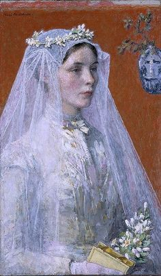 Gari Melchers The Bride ca. 1907 oil on canvas Smithsonian American Art Museum. She looks so serious....
