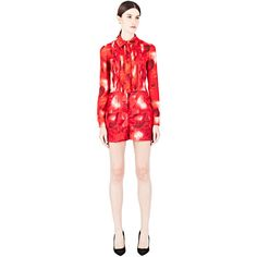 Valentino Heart Print Playsuit (18.533.995 VND) ❤ liked on Polyvore featuring jumpsuits, rompers, red, red rompers, playsuit romper and red romper