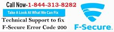To know How to Fix F-Secure Antivirus Error Code 200 read this blog for best methods or call +1-844-313-8282 for online help. The step-by-step guidance with right instructions are described here to fix the #F-Secure Antivirus Error Code 200 with online support to solve F-Secure antivirus related all issues.