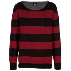 Dead Meat Striped sweater ❤ liked on Polyvore featuring tops, sweaters, shirts, jumpers, blusas, red long sleeve shirt, wool shirt, red jumper, stripe shirt and striped long sleeve shirt