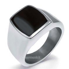 Men's Women's Stainless Steel Ring Silver Elegant Black Enamel Jewelry Size 5-12