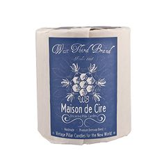 West Third Brand Maison de Cire Pillar Candle - Special blend of both beeswax and a food grade-refined paraffin wax. Hand-poured. All cotton wick.