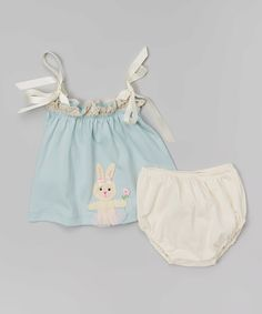 Victoria Kids Aqua Bunny Swing Top & Pearl Diaper Cover - Infant by Victoria Kids #zulily #zulilyfinds