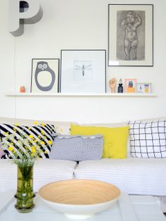 yellow. love the pillows.