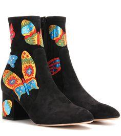 Valentino Embellished suede ankle boots Black                       $239.00