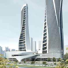 """Dutch architect Ben van Berkel of UNStudio has unveiled plans for a 60-storey building with two towers in Hangzhou, China. Called Raffles City, the building will incorporate retail spaces, offices, housing and a hotel. """"The philosophy behind the Raffles City concept is to integrate mixed use in an urban context, but in such a way"""