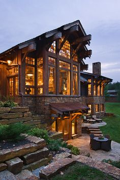 Visually, log homes tend to separate into two broad options. One is the historic style with dovetail corners and Chinking, that you see on our 50 Best Log Cabin Homes Modern Design Ideas page. Dream House Exterior, Dream House Plans, Dream Houses, Dream Home Design, House Design, Design Homes, Cabin Design, Rustic Exterior, Rustic Stone