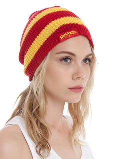 Harry Potter inspired knit beanie with Gryffindor stripe design.