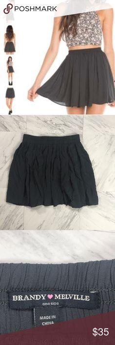 "• Brandy Melville • Heather Gray Mini Skirt - Brandy Melville - Heather Mini Skirt  - Pleated - Dark Gray - One Size - Length 14 1/2"" - Excellent Condition - Rayon Brandy Melville Skirts Mini"