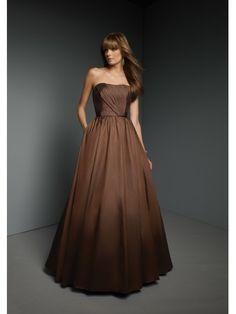 Taffeta Strapless Softly Curved Neckline Floor-length Bridesmaid Dress