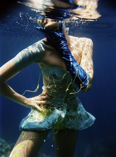 """""""Out of the Blue"""" underwater fashion photography ©peter de mulder"""