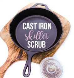 An easy cast iron skillet scrub that you can totally make yourself!