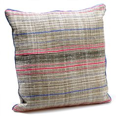 Miao Striped Cushion, Hand Stitched from Miao Fabric