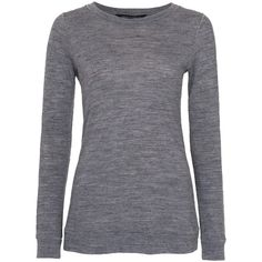 French Connection Jimmy Luxe Crewe Neck Top , Grey (94 CAD) ❤ liked on Polyvore featuring tops, shirts, sweaters, long sleeves, grey, longsleeve t shirts, gray long sleeve shirt, round neck t shirt, long sleeve shirts and gray t shirt