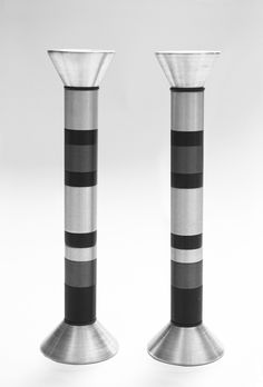 Rainbow Shabbat Candlesticks by Alice & Brian Bergner-Contemporary Judaica