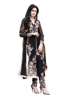 Women s Faux Georgette Black Striaght Cut Churidaar Suit- Dress Material | eBay
