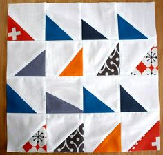 Modern Half-Square Triangle Quilt Block Tutorial I think this would be fun to do with some of the triangular scraps I have, though it probably wouldn't look modern then.