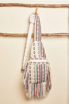 cb7b527f65 Striped Shoulder Bag with Fringe - Earthbound Trading Co. Fringe Purse