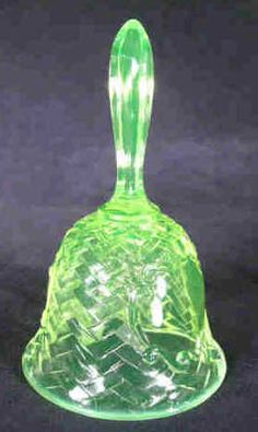 Basket Weave Vaseline Glass Bell