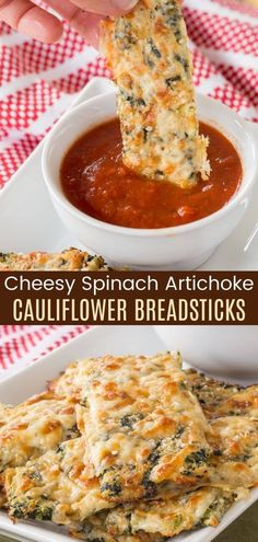 Cheesy Cauliflower Breadsticks that taste like hot and gooey spinach artichoke dip! It's a keto-friendly and gluten free appetizer that makes it fun to eat your veggies! Serve them at a party with marinara sauce for dipping, or as a side dish with dinner. Check out the Make it a Meal ideas on cupcakesandkalechips.com!