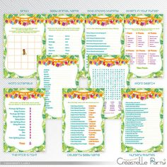 hawaiian luau baby shower printable games package 2 instant download