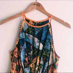 Anthropologie (Ranna Gil) Dress Anthropologie Ranna Gil maxi dress! Beautiful pattern with vibrant colors! Orange spike detail on frame of top. Perfect condition! Waistband does not stretch; zipper on side. Worn once for an event. Anthropologie Dresses Maxi