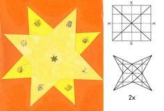 Kerstster vouwen 16 vierkantjes, van de hoeken vliegers vouwen. Dit 2x doen en dan op elkaar plakken. Je kunt de ster ook ruimtelijk maken door de vliegerzijde op elkaar te plakken