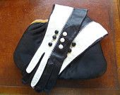 Capretto Lavabile Kid Leather Gloves Black White Buttons Vintage Size 6 Italy