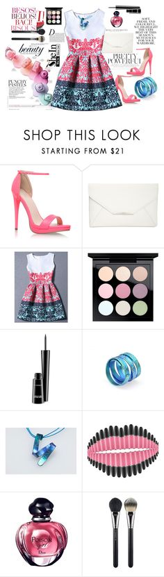"""multicolor dress"" by giampourasjewel ❤ liked on Polyvore featuring Anja, Carvela Kurt Geiger, Folio, Style & Co., MAC Cosmetics, sushi, crazyforfashion and shein"