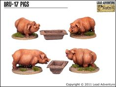 Two Pigs and Trough Lead Adventure, Decoration, Miniatures, Pigs, Scenery, Decor, Landscape, Pork, Decorations