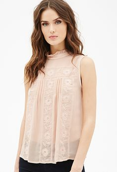 Floral-Embroidered Pleated Top | LOVE21 | #f21contemporary