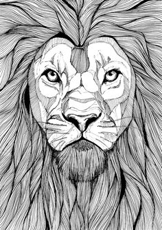 lion Art Print by Laza Alexandra - X-Small Animal Sketches, Art Drawings Sketches, Animal Drawings, Mandala Drawing, Mandala Art, Illustration Art Dessin, Lion Coloring Pages, Lion Sketch, Lion Tattoo Design