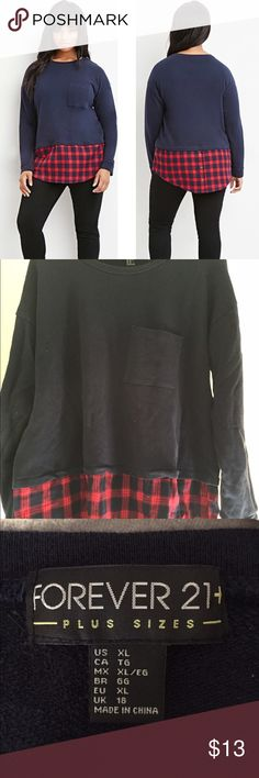 Plus size plaid layered sweatshirt Fall sweatshirt great with jeans or leggings, brand new without tags, unused. Forever 21 Sweaters