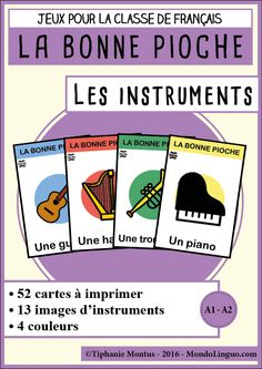 BP - Instruments de musique | Mondolinguo - Français Montessori Activities, Learning Activities, Kids Learning, Diy Carnival, Camping Gifts, French Lessons, Elementary Music, Game Pieces, Music Education