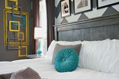 Gray_White_Teal_Yellow_Chevron_Bedroom by Lindsay Teal Gray Bedroom, Bedroom Colors, Teal Yellow, Teal And Grey, Mustard Yellow, Bedroom Wall, Bedroom Decor, Bedroom Ideas, Master Bedroom