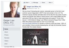 https://www.facebook.com/GeigerLawOffice/?hc_ref=PAGES_TIMELINE&fref=nf To further spread awareness and generate leads we created a social media campaign writing posts sharing Brenda's personal story on her loss with cancer and helping spread awareness through informational posts with facts from the American Cancer Society. We spread these posts across Facebook, Twitter and LinkedIn connecting the posts back to our special curated Eventbrite page urging viewers to donate and join the cause.