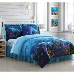 Blue Underwater Bed in a Bag King Comforter Set,Dolphin King Bedding Comforter Set,Ocean Cove Sea Animal Fishes Purple Sea Plant Nautical Coral Reef Star Fish Sea Shell Sea Life Beach Beach Bedding Sets, Full Comforter Sets, Coastal Bedding, King Comforter, Luxury Bedding, Coastal Decor, Teen Bedding, Bedding Shop, Dolphin Bedroom