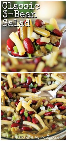 Classic Salad ~ Great taste, super easy preparation, and make-ahead convenience? Put those three things together Bean Salad Recipes, Healthy Salad Recipes, Veggie Recipes, Vegetarian Recipes, Cooking Recipes, Easy Bean Salad Recipe, Vegan 3 Bean Salad, Healthy Bean Salads, Picnic Salad Recipes