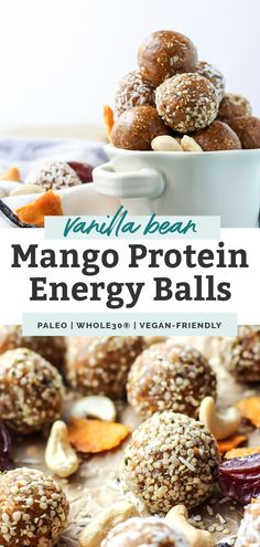 These Mango Vanilla Bean Protein Energy Balls are paleo, Whole30 and vegan-friendly. Made with dates, cashews, and collagen, they make the perfect healthy, no bake workout snack! They're packed with protein and only require 5 ingredients! Whole 30 Snacks, Whole 30 Recipes, Whole Food Recipes, Dinner Recipes, Paleo Energy Balls, Protein Energy, Protein In Beans, Protein Snacks, Dairy Free Recipes Easy