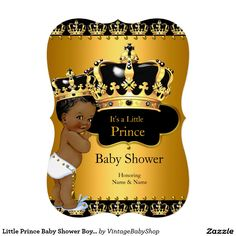 Little Prince Baby Shower Boy Crown Ethnic 5x7 Paper Invitation Card