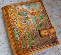 Travel Journal for order , Handmade Leather Journal, Personalized Journal, A5 Journal, A4 Journal, Carving leather, Notebook, Diary, Gift door TiVergy op Etsy https://www.etsy.com/nl/listing/247146376/travel-journal-for-order-handmade
